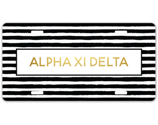Alpha Xi Delta Striped Gold License Plate