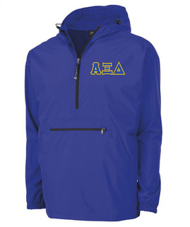Alpha Xi Delta Tackle Twill Lettered Pack N Go Pullover