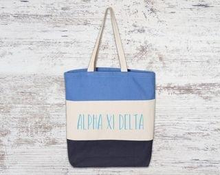 Alpha Xi Delta Tri Color Tote Bag