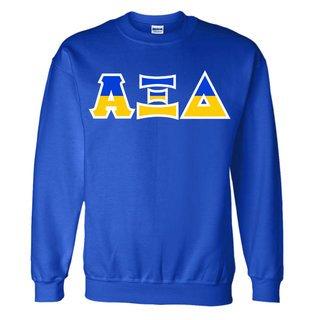Alpha Xi Delta Two Tone Greek Lettered Crewneck Sweatshirt