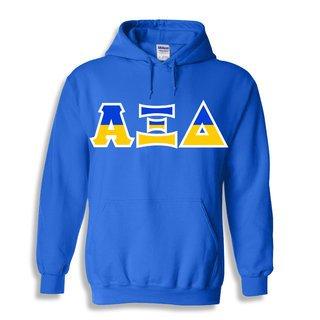 Alpha Xi Delta Two Tone Greek Lettered Hooded Sweatshirt