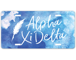 Alpha Xi Delta Watercolor Script License Plate
