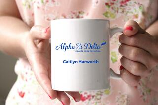 Alpha Xi Delta White Mascot Coffee Mug