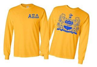 Alpha Xi Delta World Famous Crest Long Sleeve T-Shirt- MADE FAST!