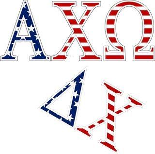 "American Flag Greek Letter Sticker - 2.5"" Tall"