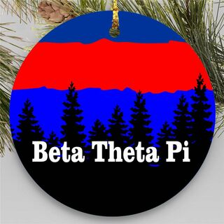 Beta Theta Pi Christmas Mountains Round Ornaments