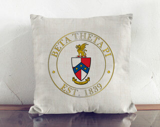 Beta Theta Pi Crest Linen Pillow