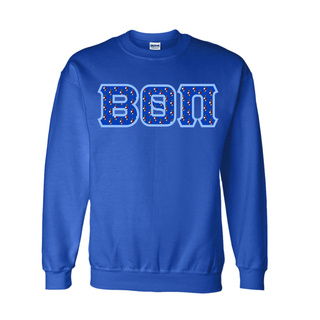 Beta Theta Pi Fraternity Crest - Shield Twill Letter Crewneck Sweatshirt