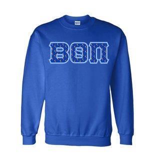 Beta Theta Pi Fraternity Crest - Shield Twill Letter Crewneck Sweatshirt
