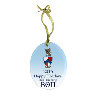 Beta Theta Pi Holiday Color Crest - Shield Glass Ornament