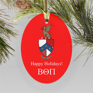 Beta Theta Pi Holiday Color Crest - Shield Ornament