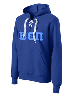DISCOUNT-Beta Theta Pi Lace Up Pullover Hooded Sweatshirt