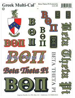 Beta Theta Pi Multi Greek Decal Sticker Sheet
