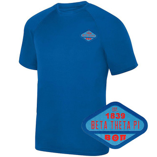 DISCOUNT-Beta Theta Pi Woven Emblem Greek Dry Fit Wicking Tee