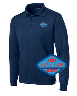 Beta Theta Pi Woven Emblem Greek Long Sleeve Dry Fit Polo