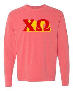 Chi Omega 3 D Greek Long Sleeve T-Shirt - Comfort Colors