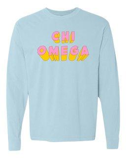 Chi Omega 3Delightful Long Sleeve T-Shirt - Comfort Colors