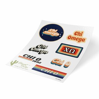Chi Omega 70's Sticker Sheet
