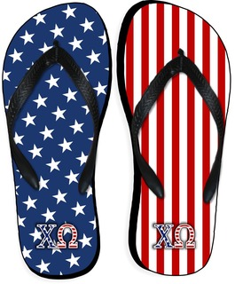 Chi Omega American Flag Flip Flops