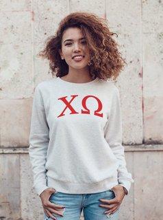 Chi Omega Arched Greek Lettered Crewneck Sweatshirt