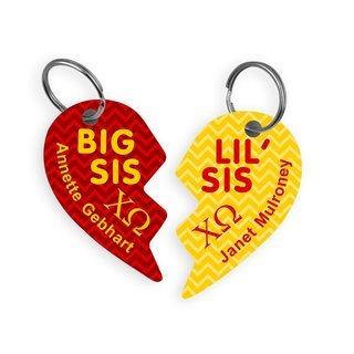 Chi Omega Big & Little Heart Halve Key Chains (2)