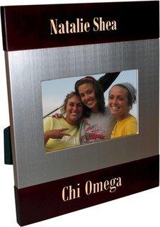 Chi Omega Brush Silver Frame