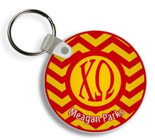 Chi Omega Chevron Keychains