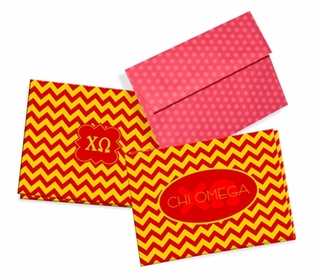 Chi Omega Chevron Note Cards w/ Envelopes (10)
