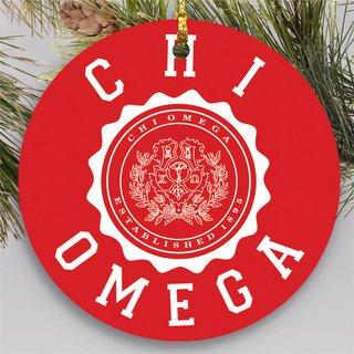 Chi Omega Round Christmas Shield Ornament