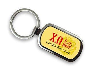 Chi Omega Chrome Crest - Shield Key Chain