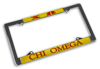Chi Omega Chrome License Plate Frames