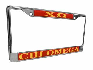 Chi Omega Chrome License Plate Frames