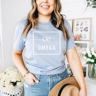 Chi Omega Comfort Colors Box Tee