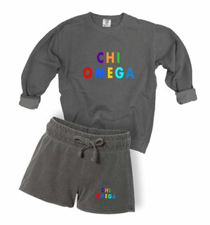 Chi Omega Comfort Colors Crew and Short Set