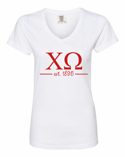 Chi Omega Comfort Colors Custom V-Neck T-Shirt