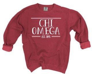 Chi Omega Comfort Colors Custom Crewneck Sweatshirt