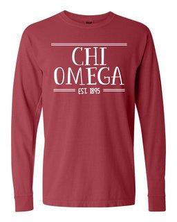 Chi Omega Comfort Colors Custom Long Sleeve T-Shirt