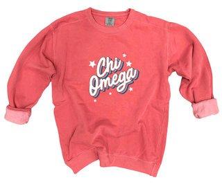 Chi Omega Comfort Colors Flashback Crew