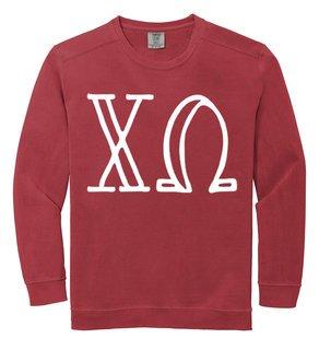 Chi Omega Comfort Colors Greek Crewneck Sweatshirt