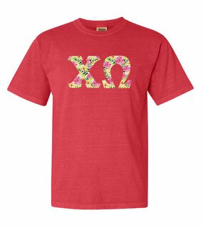 Chi Omega Comfort Colors Lettered Greek Short Sleeve T-Shirt
