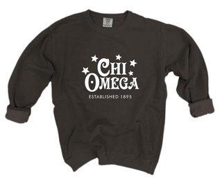 Chi Omega Comfort Colors Old School Custom Crew