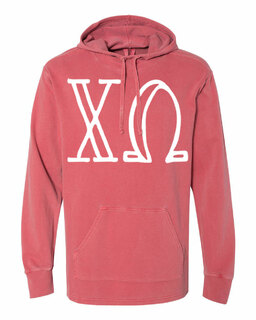 Chi Omega Comfort Colors - Terry Scuba Neck Greek Hooded Pullover