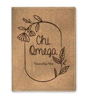 Chi Omega Cork Portfolio with Notepad