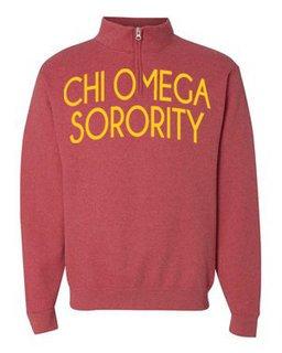 Chi Omega Over Zipper Quarter Zipper Sweatshirt