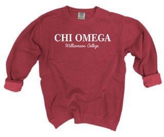 Chi Omega Script Comfort Colors Greek Crewneck Sweatshirt