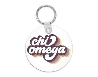 Chi Omega Retro Script Keychain