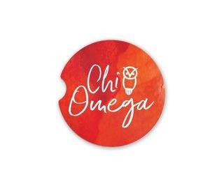 Chi Omega Sandstone Car Cup Holder Coaster