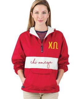Chi Omega Custom Stripe Script Pullover Anorak