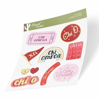 Chi Omega Cute Sticker Sheet