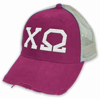 Chi Omega Distressed Trucker Hat